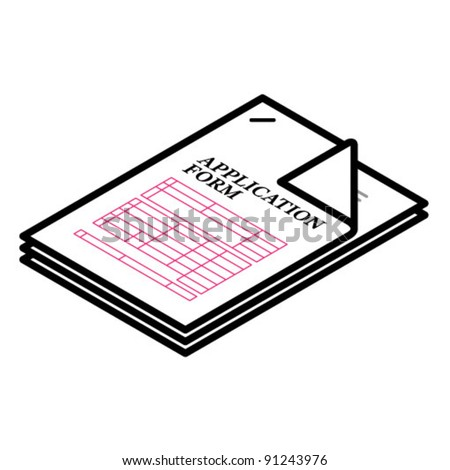 A stapled document - generic application form. - stock vector