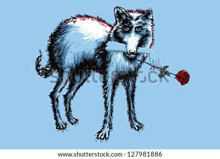 A staring wolf with a human hand in his mouth, that is holding a red rose. This is a conceptional picture, standing for love, that hurts, or desire. The hand has a clipping mask, and can be moved. - stock vector