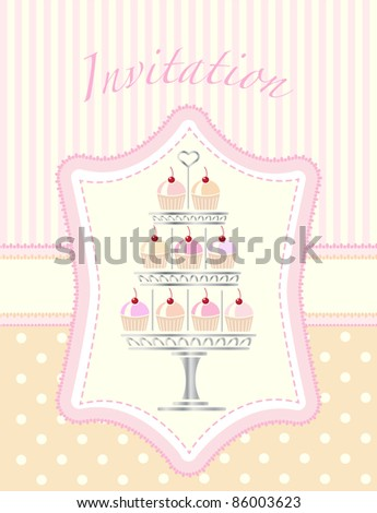 A stencil style silver cake stand full of cherry cupcakes. Suitable for wedding or party invitations. EPS10 vector format. Easily editable for insertion of your on text. - stock vector