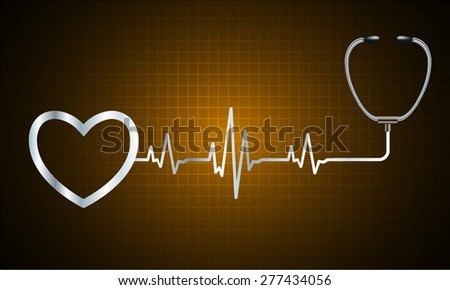 A stethoscope with a heart beat. Illustration. Monitor, pulse. wave. dark yellow Technology background for computer graphic website and internet. web icon. monitor. graph.
