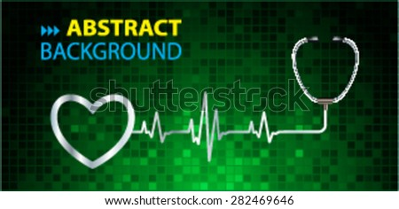 A stethoscope with a heart beat. Illustration. Monitor, pulse. wave. green Technology background for computer graphic website and internet. web icon. monitor. graph. pixel - stock vector