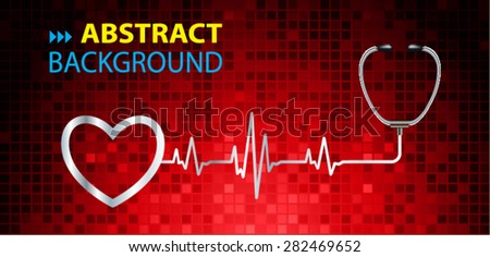 A stethoscope with a heart beat. Illustration. Monitor, pulse. wave. red Technology background for computer graphic website and internet. web icon. monitor. graph. pixel - stock vector