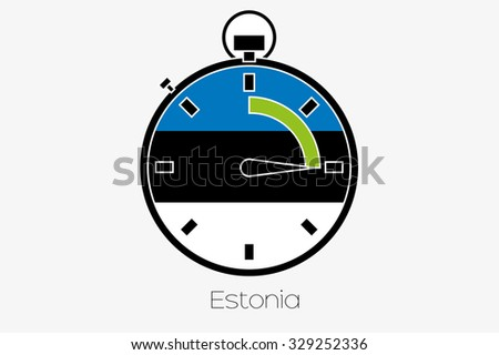A Stopwatch with the flag of Estonia - stock vector