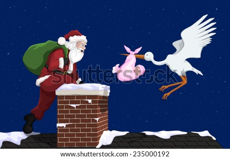 A stork with a baby girl and Santa Claus getting to a house at the same time.  - stock vector
