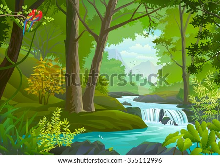 A stream flowing through a dense green forest - stock vector