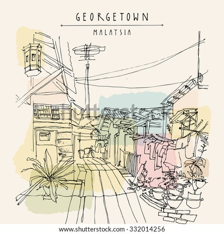 A street in Georgetown, Penang, Malaysia. Vintage hand drawn postcard template. Vector