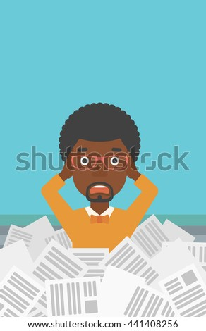 A stressed african-american man clutching his head because of having a lot of work to do with a heap of newspapers in front of him vector flat design illustration. Vertical layout. - stock vector