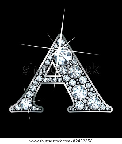 """A stunning beautiful """"A"""" set in diamonds and silver.  Vector. - stock vector"""