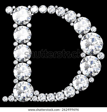 "A stunning beautiful ""D"" set in diamonds - stock vector"