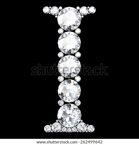 "A stunning beautiful ""I"" set in diamonds - stock vector"