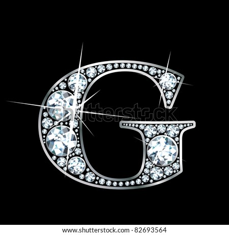 "A stunningly beautiful ""G"" set in diamonds and silver. Vector."