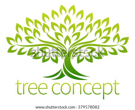 A stylised tree icon symbol concept illustration - stock vector