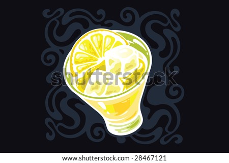 A stylized glass of Martini with a lemon and an ice - stock vector