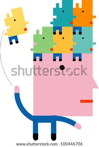A stylized human figure tossing smaller human figures onto his head - stock vector