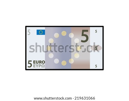 A stylized iconic colourful 5 Euro bank note / paper money. - stock vector