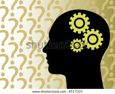 A stylized illustration of a man lost in thought - stock vector