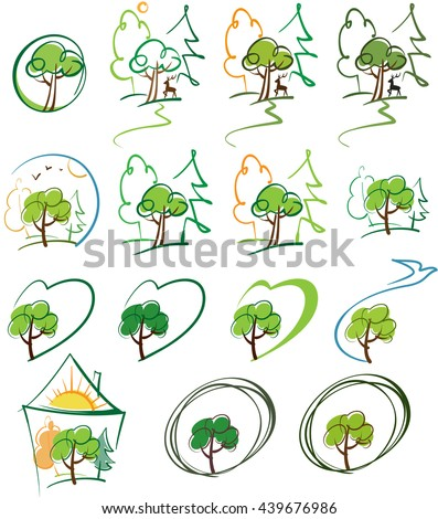 a stylized image of the forest and nature, colors versions - stock vector