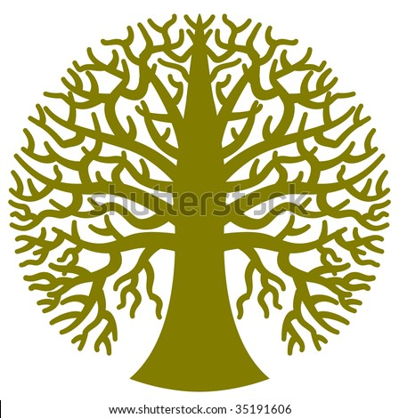 A stylized round tree in vector format - stock vector