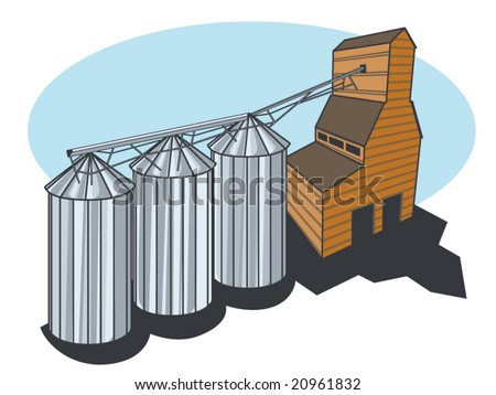 a stylized technical vector illustration of a grain elevator and silos - stock vector