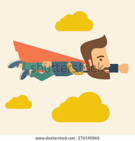 A super businessman flying high to achieve his goal. Leadership concept. A Contemporary style with pastel palette, soft beige tinted background and yellow clouds. Vector flat design illustration - stock vector
