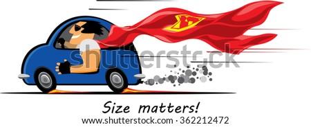 a superhero strong man enjoying fast drive on a small blue car. vector illustration - stock vector