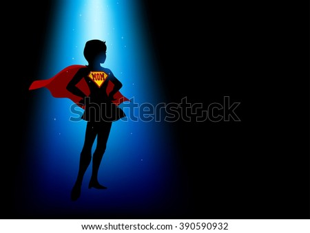 A superheroine standing under blue light with the word mom as the symbol
