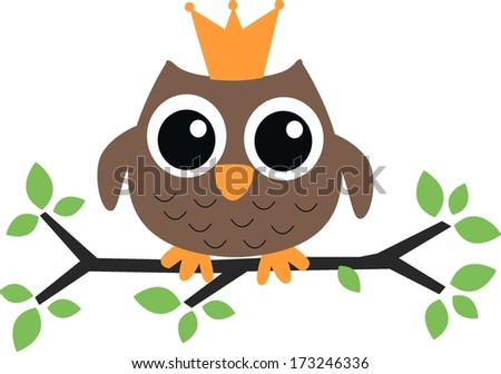a sweet little brown owl with a crown - stock vector