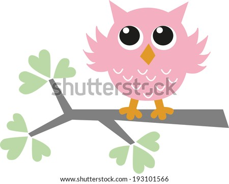 a sweet little pink owl - stock vector