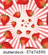 A swirl of strawberries on a star burst. EPS10 vector format - stock vector