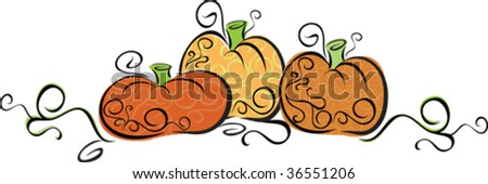 A swirling vector illustration of pumpkins, would make nice embellishment for fall party invitation or recipe - stock vector