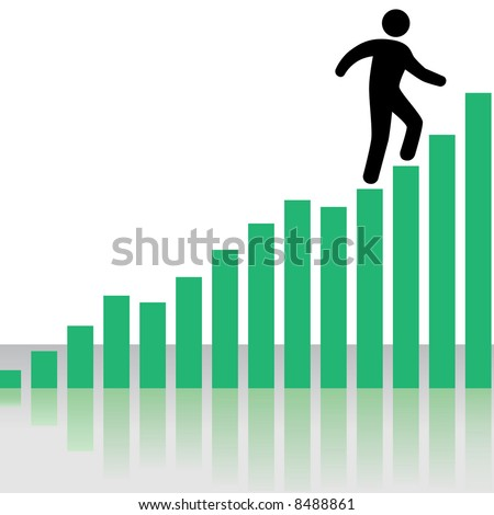 A symbol business person climbs up a Profit Chart Graph as stairs, with reflection. - stock vector