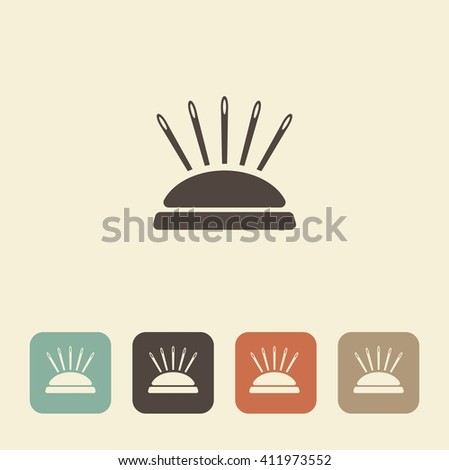 A symbol of sewing and needlework. Pin cushion - stock vector