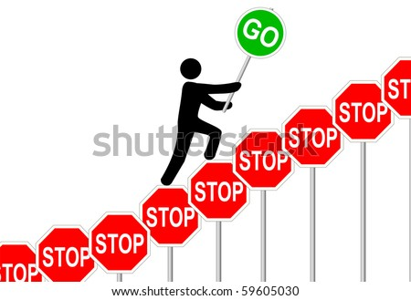 A symbol person climbs to overcome STOP signs and GO to success and progress. - stock vector