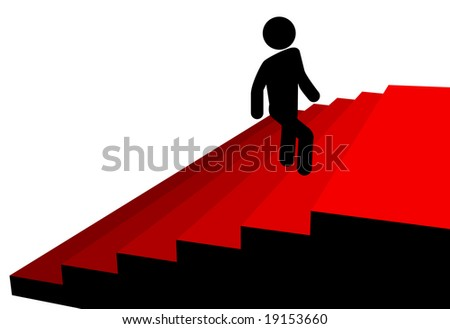 A symbol person climbs up a red carpet stairs to a platform of success at the top.