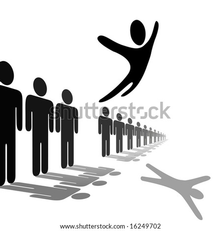 A symbol person out from the crowd and flies above a line of people. Jump for joy, escape, or celebration. - stock vector