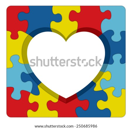 A symbolic puzzle heart illustration for autism awareness. Vector EPS 10. - stock vector