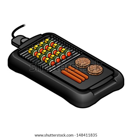 A Table Top Electric Grill. With A Spread Of Burgers, Sausages And Vegetable
