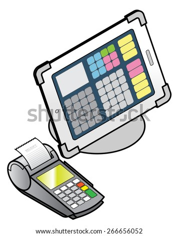 A tablet-based POS (point of sale) setup with a swipe/tap card reader, PIN pad and receipt printer. - stock vector