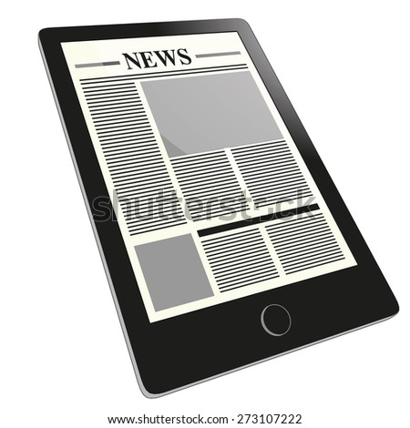 A tablet pc shows an electronic newspaper in the touch screen. The internet of things