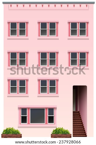 A tall pink building on a white background - stock vector