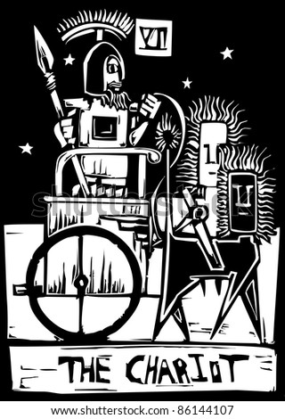 A Tarot card image of the Chariot.