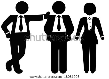 A team of 3 business people in suits, a group of a woman and two men. - stock vector
