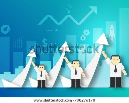 team businessman shows growth paper origami stock vector 708276178