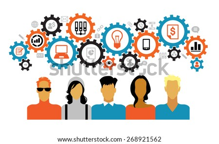 A team of people surrounded gears and business icons. Concept of teamwork. - stock vector