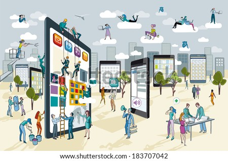 A team of people work creatively together building giant digital tablets. This are like skyscrapers, and create a city. Other people download this content on their mobile devices. - stock vector