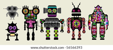 a team of robots.  see more in my portfolio - stock vector