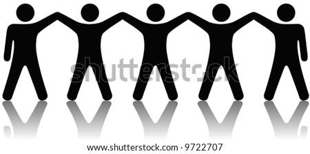 A team or group of five people with hands raised celebrate cooperation, teamwork, victory, winning, etc. - stock vector