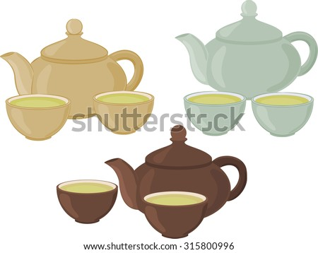 A teapot and small cups of Chinese green tea. Set of isolated objects. - stock vector