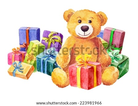 A teddy bear sits on a background of gifts. Watercolor. vector - stock vector