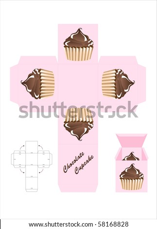 A template for a cupcake gift box. EPS10 vector format. - stock vector